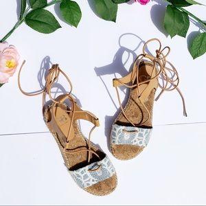 Gianni Bini | Blue Floral Gladiator Sandals 7.5